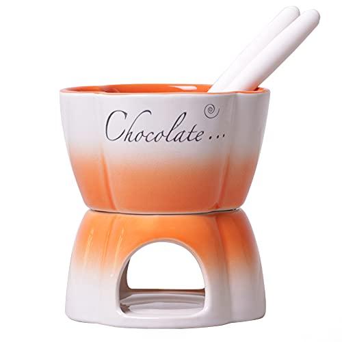 Service à fondue au chocolat en céramique pour 2...