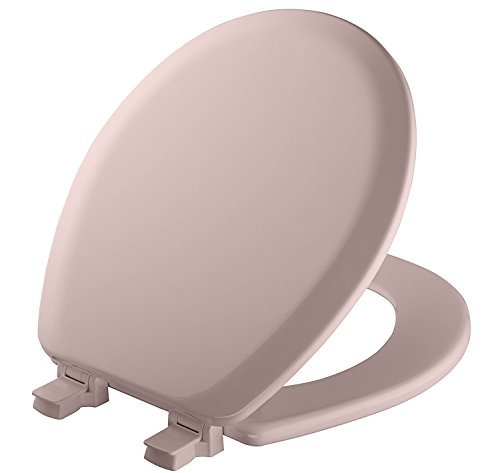 Mayfair 41EC 023 Molded Wood Toilet Seat with Lift-Off Hinges, Pink, Round by Mayfair