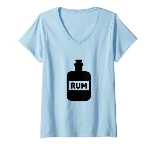 Mujer Botella de ron Pirata Beber Camiseta Cuello V