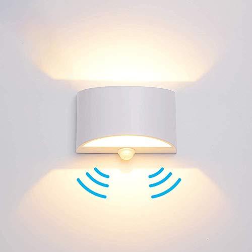 LED Wandleuchte mit Bewegungsmelder Innen Up Down Warmweiß,Elitlife 7W Wandlampe Innen Aluminium Innenleuchte Wandbeleuchtung für Wohnzimmer Schlafzimmer Flur Treppenhaus Bad[Energieklasse A++]