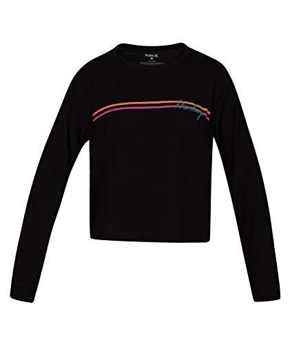 Hurley W Line Bars Long Sleeve Camisetas, Mujer, Black, XS