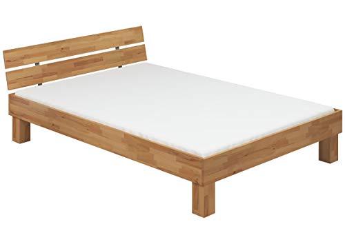 Erst-Holz® Doppelbett Futonbett Überlänge 140x220 Buche Französisches Bett Rollrost Matratze 60.80-14-220 M