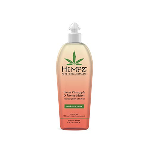 Hempz Hydrating Bath and Body Oil for Women, Sweet Pineapple & Honey Melon - Conditioning Body...