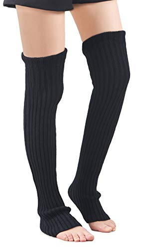 Leotruny Women's Winter Over Knee High Footless Socks Knit Leg Warmers (Black)