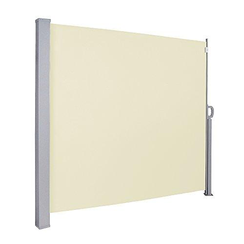VINGO 160 x 300 cm Seitenmarkise Beige TÜV,Reißfestigkeit,seitlicher Sichtschutz sichtschutz,geprüft UV,für Balkon Terrasse ausziehbare markise