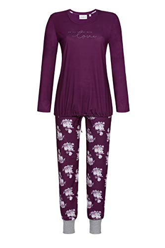 Ringella Damen Pyjama mit Schriftzug Bordeaux 38 0511214P, Bordeaux, 38