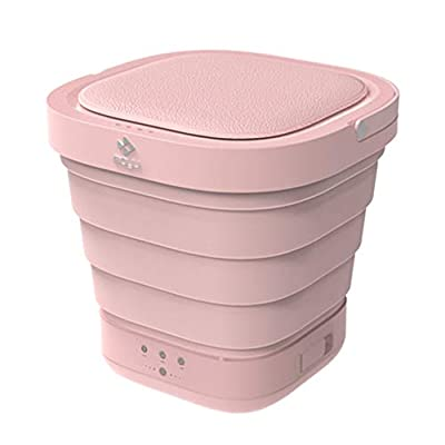 Portable Mini Folding Clothes Washing Machine, Bucket Automatic Home Travel Self-driving Tour Underwear Foldable Washer and Dryer,Pink