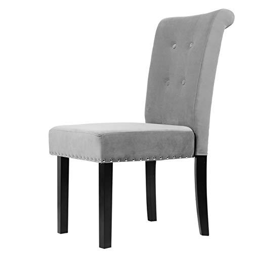 Sillón de tela, un par de sillas de oficina con patas de madera maciza para sala de estar, asiento acolchado, tamaño: 48,5 x 51 x 12 cm