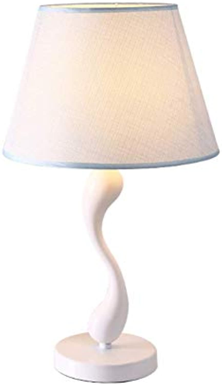 ZYSTYN Einfache Moderne Schlafzimmer Tischlampe blau Stoff Tischlampe Mittelmeer kreative Schlafsaal Schlafzimmer Nachttischlampe Fernbedienung Dimmen,touchswitch