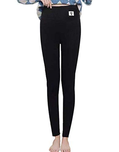 ORANDESIGNE Leggings Thermiques Épais Doublés en Polaire pour Femme B Noir X-Large