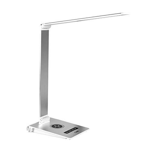 WANBAO Elegante Lámpara de Escritorio Plegable lámpara con 5 Brillo Dimmer y 3 Modos de Color Control táctil Light Ley con TELÉFONO MÓVIL Wireless/Carga por Cable (Color: Plata) (Color : Silver)