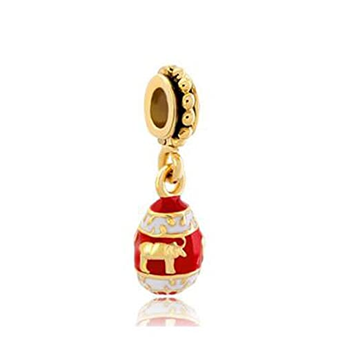 Pandora Fashion 925 Charm Red Easter Fabergé Egg Con Bull Animal Bead Fit Pulsera