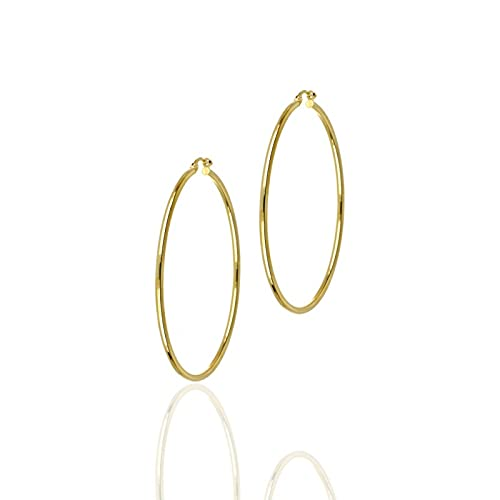 UNOAERRE - Pendientes de oro amarillo 750 de aro, diámetro 50 mm   Pendientes de mujer de alta calidad   Certificado de garantía y autenticidad