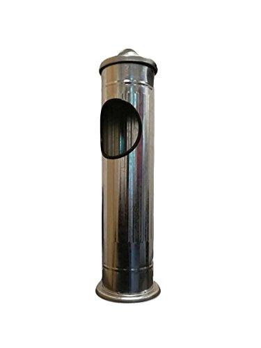 Cendrier sur pied en acier inoxydable brossé avec poubelle 56,6 x 14,7 cm, Silber