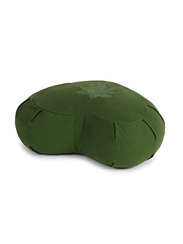 Yoga Studio Lotus Crescent Zafu - Puf de meditación, 42 x 13 x 18 cm, Funda de algodón, Cascos de Trigo sarraceno, asa de Transporte, Accesorios de Yoga (Verde)