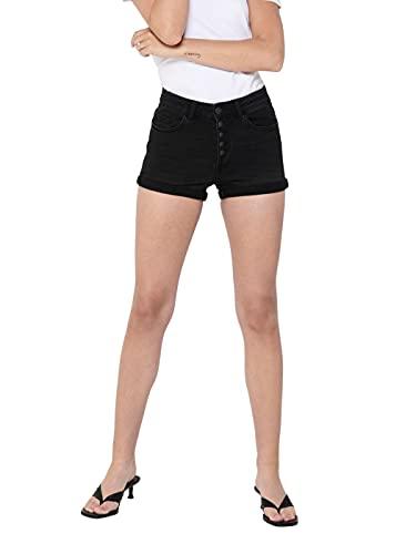 Only ONLHUSH Life HW Button Shorts Noos Pantalones Cortos de Jean, Black...