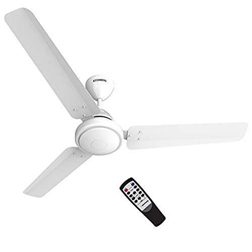 Atomberg Efficio 1200 mm BLDC Motor with Remote 3 Blade Ceiling Fan(White, Pack of 1)