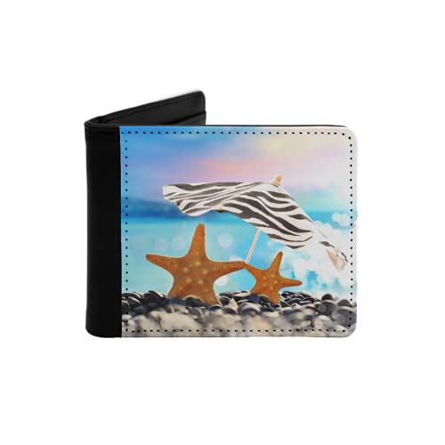 Cartera Delgada de Cuero para Hombre,Estrella de mar bajo la sombrilla en la Playa de Verano,Cartera Minimalista con Bolsillo Frontal Plegable