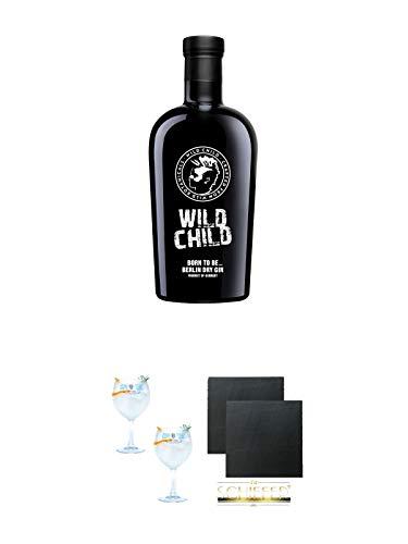 Wild Child Gin Berlin 0,7 Liter + Gin Sul Copo Ballon Glas 2 Stück + Schiefer Glasuntersetzer eckig ca. 9,5 cm Ø 2 Stück