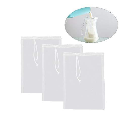 ZZM Siebbeutel zum Entsaften, Nylon-Siebbeutel, wiederverwendbar, feines Netz, Lebensmittelsieb, Filterbeutel, wiederverwendbar, Seihtuch, Nuss, Mandelmilch, Siebbeutel mit Seil