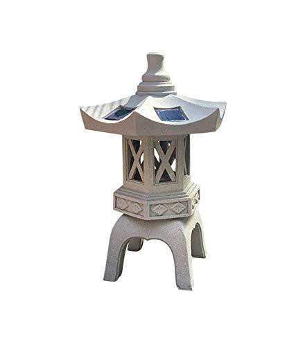 XCDM Estilo japonés Pagoda con energía Solar Linterna Decoración de jardín Torre de Piedra Antigua Piso Jardín Paisaje Lámpara Estatuas Lámpara Templo Farolillo de Cuatro Esquinas Adornos Cortijo