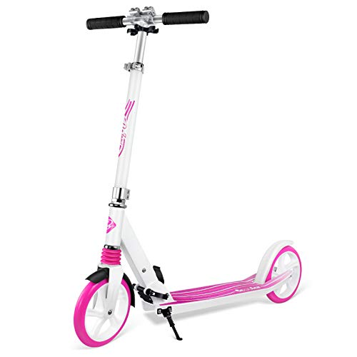 Beleev V5 Scooters for Kids, Foldable 2 Wheel Kick Scooter for Girls & Boys, Quick-Release Folding System, Shock Absorption Mechanism, Large 200mm Wheels Great Scooters for Adults and Teens (Pink)