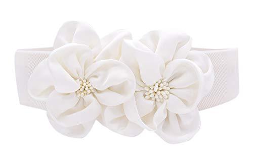 Las mujeres de las muchachas grandes de moda doble decoración flores hebilla ajustable cinturón de cintura ancha elástico (one size, blanco)