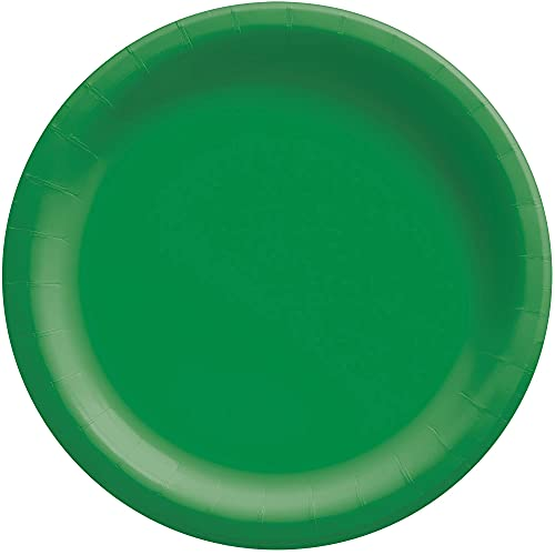 """Amscan 640011.03 Festive Green Paper Plates Big Party Pack, 6 3/4"""""""