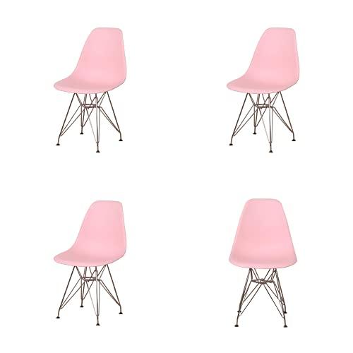 EDLMH - Juego de 4 sillas de comedor de diseño moderno con patas de metal cromado, diseño nórdico para sala de estar, oficina, estudio, dormitorio (4, amarillo)