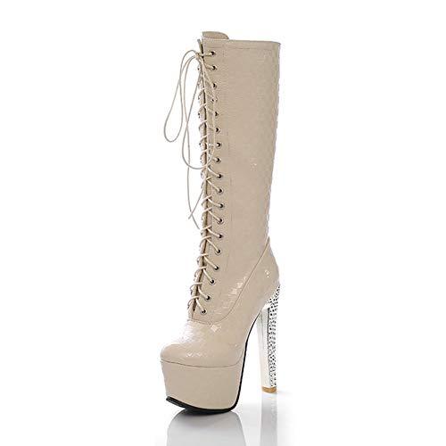 LHZHH Zapatos para Mujer, Botas De Tubo Medio De Tacón Súper Alto, Botas con Cremallera Lateral De Tacón De Aguja con Punta Redonda Y Plataforma para Mujer, Botas De Cuero con Cordones