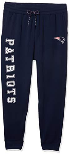 Ultra Game NFL New England Patriots Mens Active Basic Jogger Fleece Pants, Team Color Stripe, Medium