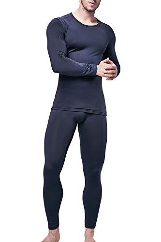 DEVOPS Men's Thermal Wintergear Heat-Chain Microfiber Fleece Underwear Baselayer Top & Bottom (Long Johns) Set (Medium, Navy)
