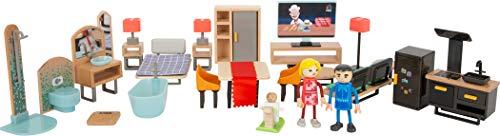 Small Foot 11742 Puppenhausmöbel-Set Modern aus Holz und Kunststoff, Puppenhaus-Zubehör für Kinder ab 3 Jahren Toys, Multicolor