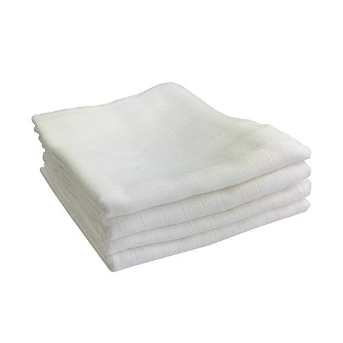 4x Pucktücher - große Spucktücher Mullwindeln 100 120 140 160 cm Baby Baumwolle - Pucktuch | ÖKO-TEX (4 Weiß, 120x120 cm)