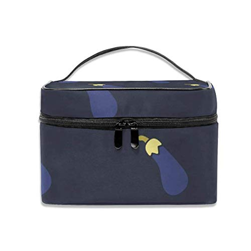 Vanity et Trousses à Maquillage Cosmetic Bags Blue Eggplant Pattern Travel Multifunction Case Makeup Organizer