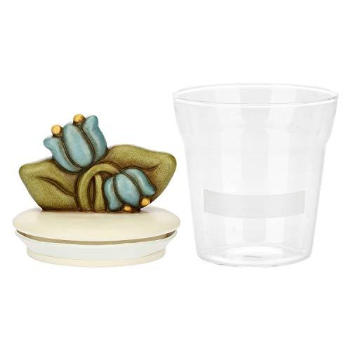 THUN - Barattolo da Cucina per Farina, Zucchero, Sale, caffè, Biscotti o Spezie, Decorato con Fiori Campanelle Blu - Accessori Cucina - Linea Country - Formato Medio - Vetro e Ceramica - 10 h cm