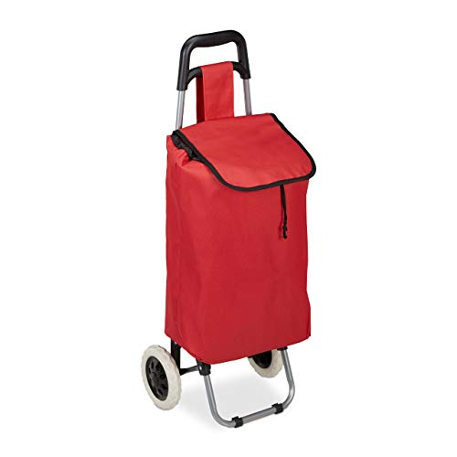 Relaxdays Einkaufstrolley klappbar, Abnehmbare Tasche 28 L, Einkaufswagen mit Rollen HxBxT: 92,5 x 42 x 28 cm, rot