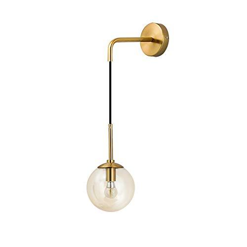 I-xun Lámpara de pared Bola de cristal Luces de pared Latón E27 Lámpara de caída Lámpara de sombra Lámpara de noche para sala de estar, dormitorio (Ámbar, 15cm)
