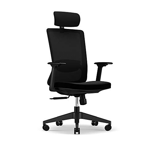 iPEGTOP Ergonomic Office Chair, Ergonomic Executive Swivel Home Office Desk Chair, Breathable Mesh Computer Chair with High-Back Task Lumbar, Headrest Support with Arms Black