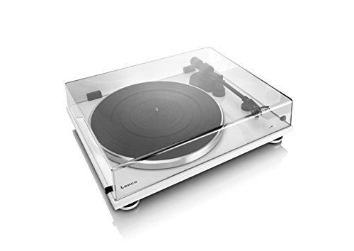 Lenco Plattenspieler L-87 Slimline (USB-Anschluss, Audio Technica Tonabnehmer, Riemenantrieb, Holzgehäuse), weiß