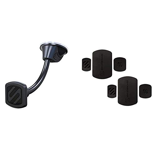 SCOSCHE MAGWDM MagicMount Magnetic Suction Cup Mount for Mobile Devices & MRK2PK-UB MagicMount Magnetic Mount Replacement Plate Kit for Mobile Devices (Pack of 2) - Black