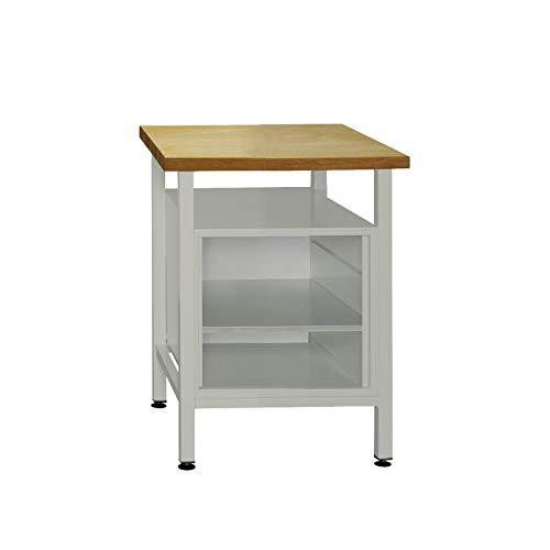 ADB Werkbank Werktisch 60x60x84 cm mit Regalteil 1 Fachboden RAL 7035