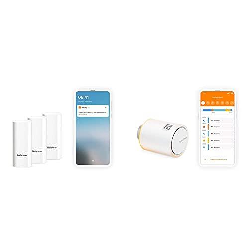 Netatmo Sensori Intelligenti Per Porte E Finestre, Wireless, Monopezzo, Confezione Da 3 & Valvole Termostatiche Wifi Intelligente, Modulo Supplementare Per Il Termostato Intelligente