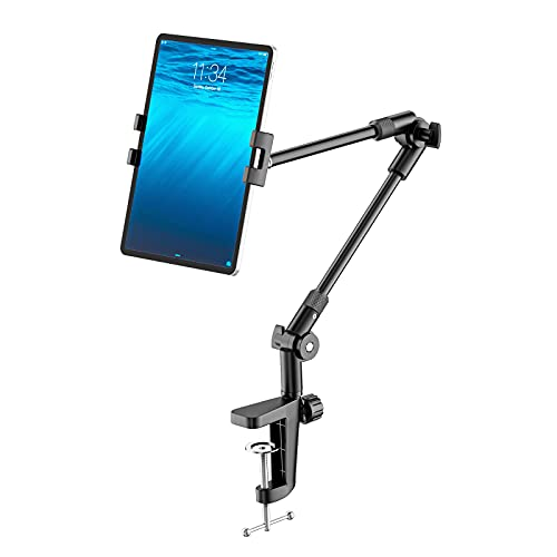 "Tablet Stand Holder with 360° Phone iPad Tripod Mount, 27in Long Arm Webcam Stand Projector Camera Mount for Desk, Fit for 4.7""-13"" Devices, iPad Pro 12.9 Air Mini, Galaxy Tabs, Switch, Kindle, iPhone"
