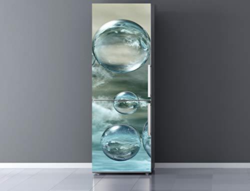 Pegatinas Vinilo para Frigorífico Burbujas Agua | Varias Medidas 185x60cm | Adhesivo Resistente y de Facil Aplicación | Pegatina Adhesiva Decorativa de Diseño Elegante