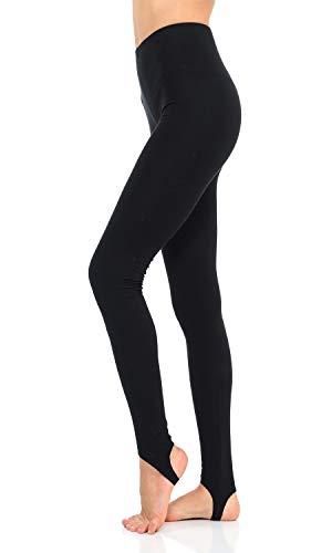 JJJ Women's Solid Cotton Spandex Jersey Stirrup Leggings (Black, Small)