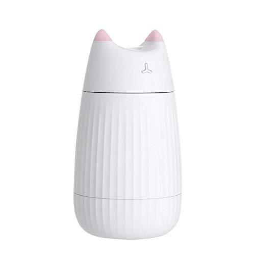 ZJYX 200ml Mini Humidificador Coche Portátil, Humidificador USB para Coche, 200 ml, 7 Colores LED, Humidificador, Ultrasonido, Humidificador para Dormitorio, Habitación de Bebé,Blanco