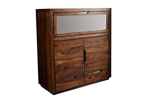 MASSIVMOEBEL24.DE Palisander Holz Möbel massiv lackiert Highboard Sheesham Massivmöbel Holz massiv walnuss Duke #118