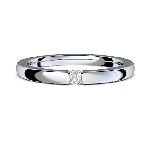 Spannring Verlobungsring von AMOONIC mit Zirkonia Stein INKL. LUXUSETUI+ Silber 925 Ring Zirkonia wie Diamant 925 Heiratsantrag Hochzeit Liebesgeschenke Antrag Geschenke AM195SS925ZIFA54-7