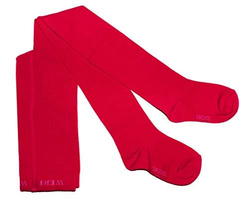 Weri Spezials Baby und Kinder Strumpfhose für Mädchen und Jungen, UNI Glatt in 19 tollen Farben (110-116, Rot)